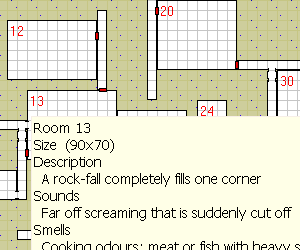 Cropped portion of a dungeon generated by MapMage.