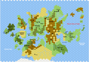 The continent of Ansalon on the planet Krynn of the DragonLance series.