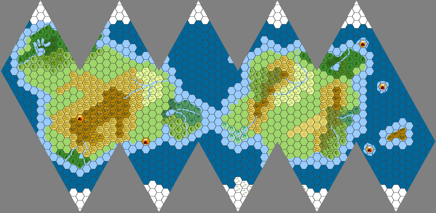 Make an icosahedral world dice drop map with hexographer inkwell finished map with rivers lakes and coastal waters click to enlarge sciox Gallery