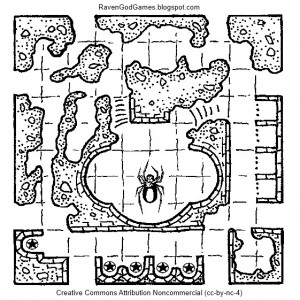 """""""Shrine of the Spider Godess"""" by Joe Salvador of RavenGodGames.blogspot.com.  It is released with a Creative Commons Attribution Non-Commercial 4.0 license."""