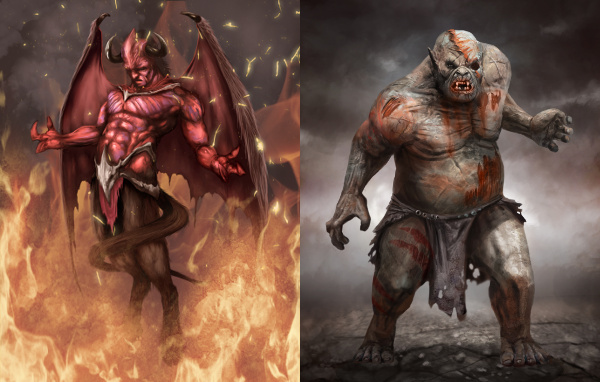 Devil, Pit Fiend by Phill Simpson and Zombie Ogre by Matt Bulahao