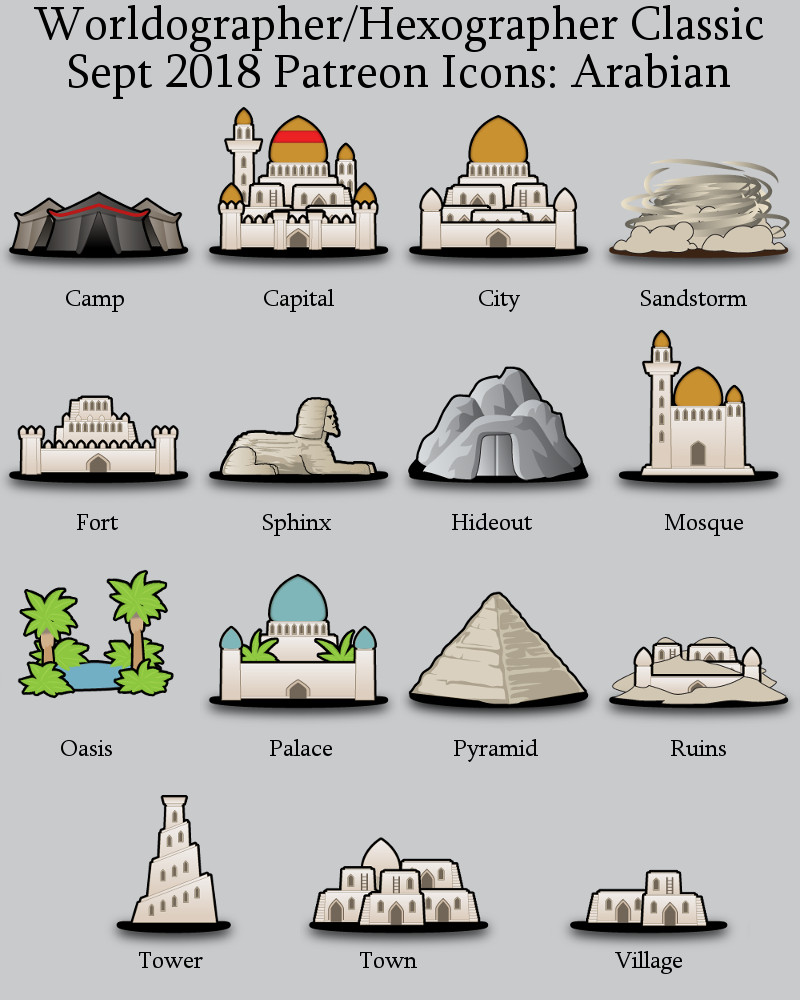 Arabian Classic Hex Map Icons Inkwell Ideas