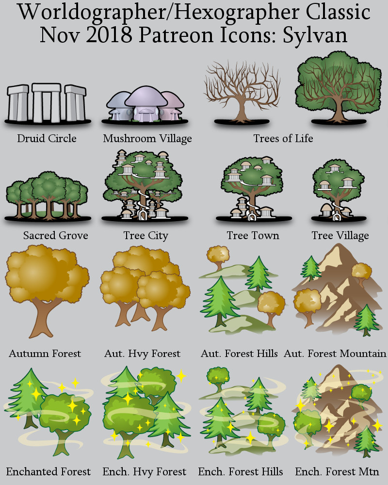 Sylvan Classic World Map Patreon Icons Previews | Inkwell Ideas