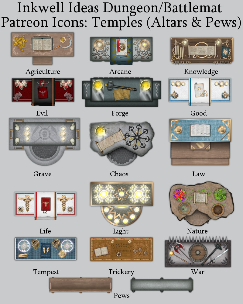 Patreon Temple Battlemat Icons Preview