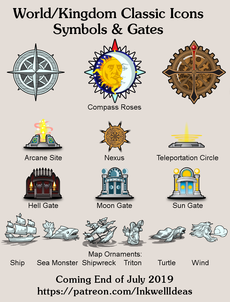 July's Patreon Map Icon Previews: Symbols & Gates