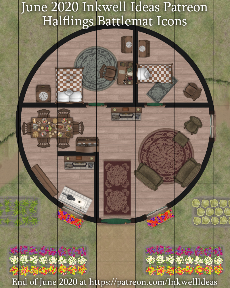 Halfling Battlemat style map icons as a sample Halfling House