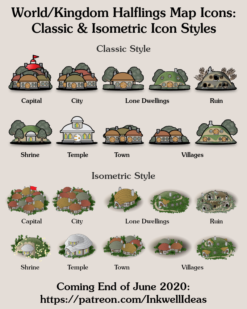 Halfling World/Kingdom Classic & Isometric style map icons