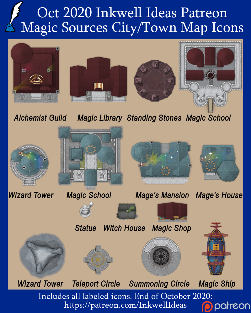 Magic Sources/Places Settlement Icons