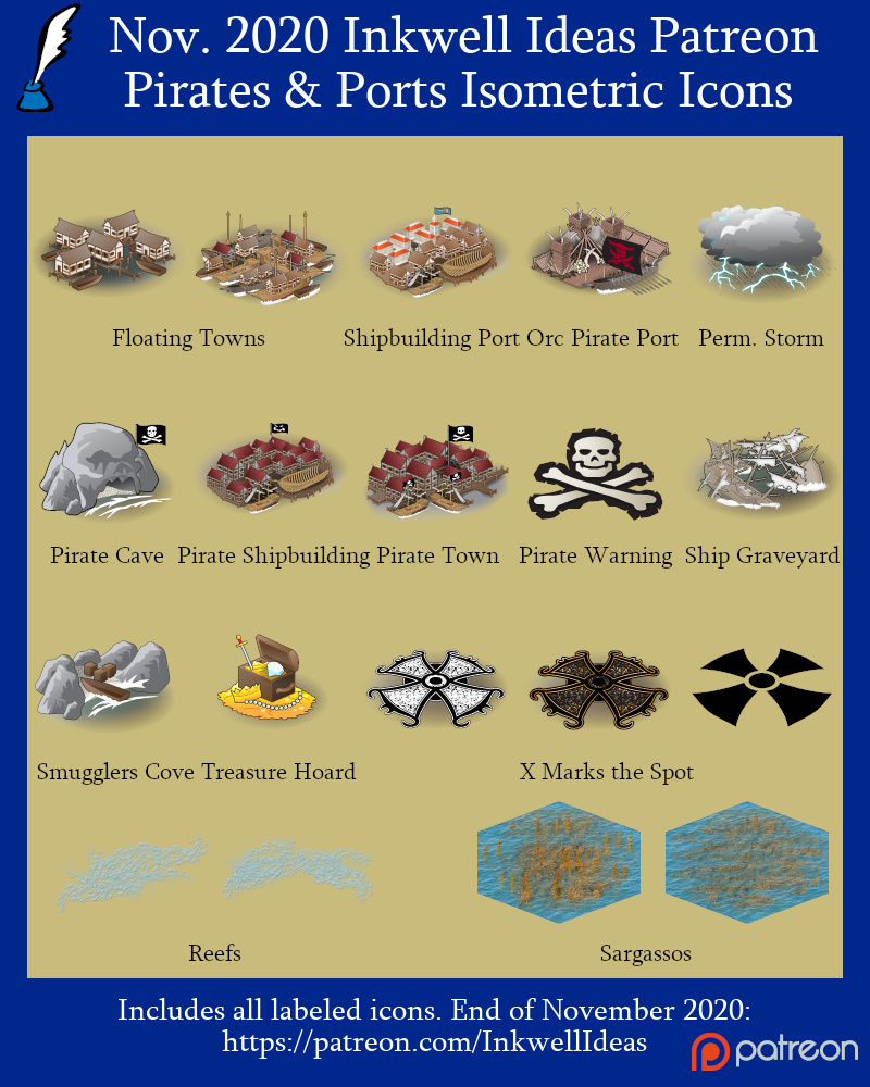 Pirates & Ports Isometric World/Kingdom Icons