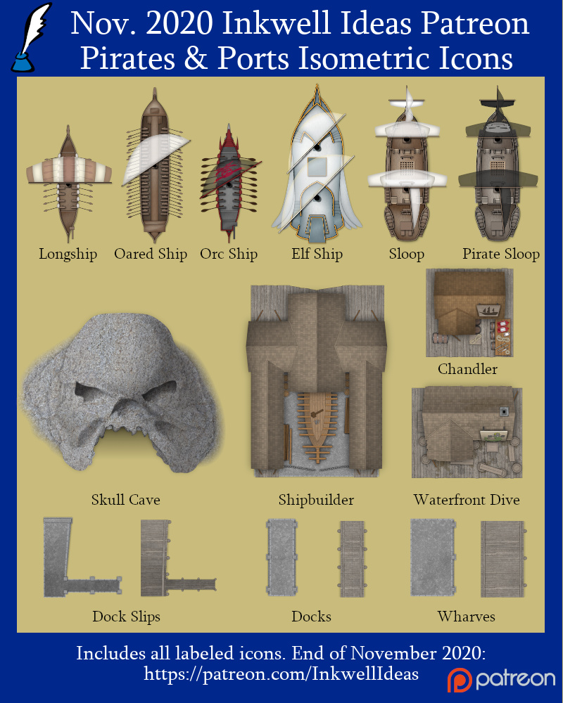 Pirates & Ports Building & Ship Icons