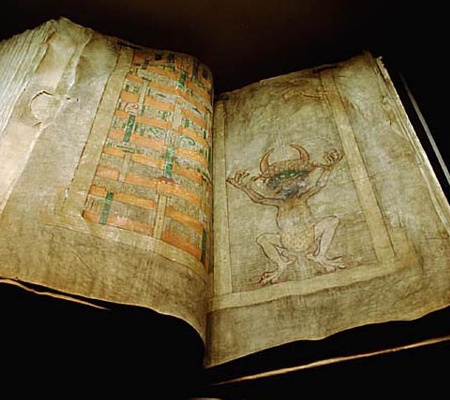 The Devil page in the Codex Gigas. Kungl. biblioteket, Attribution, via Wikimedia Commons