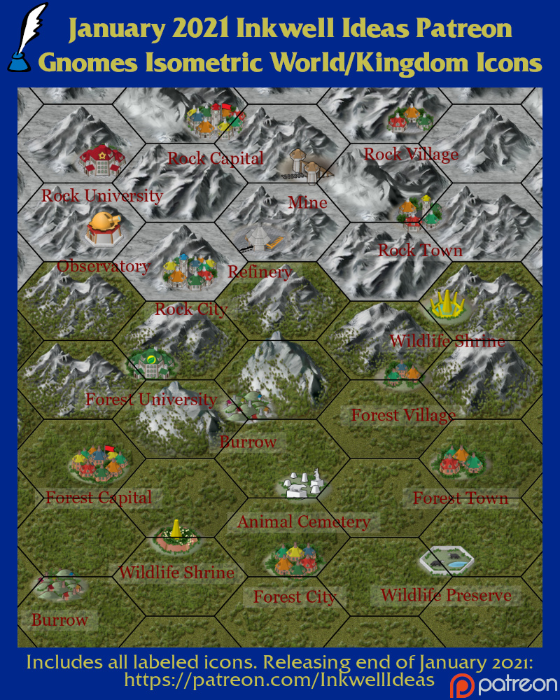 Gnome Isometric Style World/Kingdom Icons