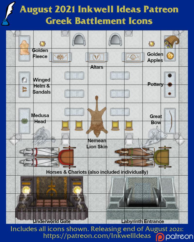 Worldographer Greek Battlemat, Settlement, and World/Kingdom Map Icons
